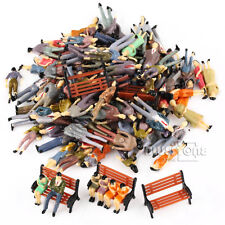 100 Painted 1:50 People Passenger Figures+5 Park Bench Train Scenery O Scale