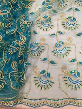 "TURQUOISE GOLD METALLIC EMBROIDERY MULTI SEQUIN BEIDAL LACE FABRIC 48"" WiIDE 1 Y"