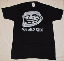 MENS T-SHIRT SMALL COOL FACE YOU MAD BRO? COOLFACE GRAPHIC TEE SM SML TROLL FACE