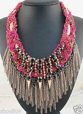 Handmade beads lady Statement crystal chunky pendant tassels charm necklace 1112