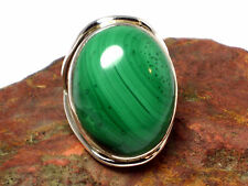 MALACHITE   Sterling  Silver  925  RING   -   R / 8.5  -   Gift  Boxed