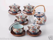 [SUPER SALE] Arita-yaki Porcelain: PEONY - Kyusu Tea pot, 5 tea cup & saucer Set
