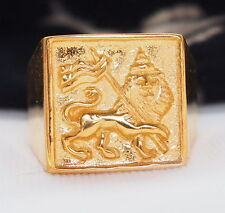 PREMIUM GOLD RING LION OF JUDAH Rastafari Ethiopia Jamaica Ganja Selassie
