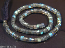 """Natural Fiery Labradorite Step Cut Heishi 5mm Rondelle Beads, Nice for Price 14"""""""
