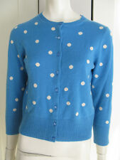 J. CREW TURQUOISE & WHITE POLKA DOT CASHMERE CARDIGAN SWEATER SZ MEDIUM