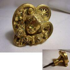 POIGNEE bouton de MEUBLE ancienne BRONZE doré RG tête CHERUBIN et ROSES fleur