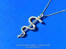 Rod of Asclepius Pendant - Sterling Silver