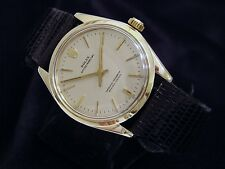 Mens Rolex Solid 14K Yellow Gold Oyster Perpetual Watch Silver w/Black Band 1005