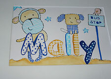Baby Picture Original art Any Name Personalised Gift Cheeky Monkey next to name