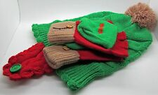 Captain Morgan Toque Glove Set Mittens Pom Pom Red Green Ear Flaps Knit Tuque