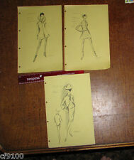 Vintage Fashion Stat Sheets 1950's & 1960's Set of 3 Cardin #a12