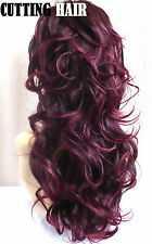 Burgundy Black mix 3/4 Wig Layers Long Curly Half Wig Hairpiece 53-1B/118