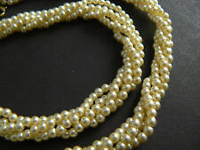 "Vintage Necklace Choker Faux Pearls Twisted Multi Strands 16"" (B1-2)"