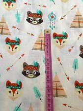Fox Beige Dreamcatcher tipi Ours Imprimé 100% Coton Tissu/Compteur/largeur 160 cm