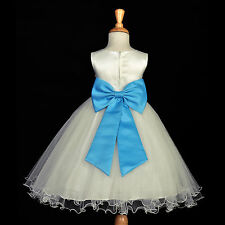 IVORY PRINCESS PARTY DRESS FLOWER GIRL BIRTHDAY PAGEANT BRIDAL RECEPTION HOLIDAY