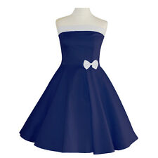50er Rockabilly Con Allacciatura Al Collo Abito Sottoveste PIN UP PARTY COTONE s-m-l103 BLU