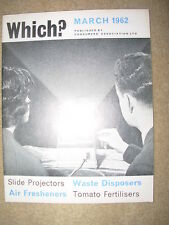 VINTAGE WHICH MAGAZINE MARCH 1962 SLIDE PROJECTORS - AIR FRESHENERS - FERTILISER