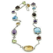 """14K White Gold Necklace With Multi-Shaped Gemstones 20"""""""