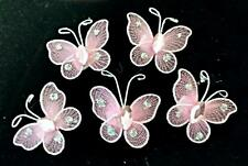 20 Pink Wired Glittery Mesh Butterfly Motifs 4 Card Crafts Sewing Embroidery