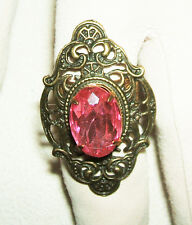 PINK RHINESTONE VICTORIAN RING Large Ornate Detailed Adjustable