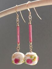 Vintage Deco Pink & White Lozenge Wedding Cake Glass 14ct Rolled Gold Earrings