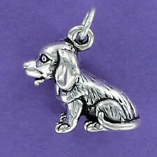 Long Hair Beagle Charm Sterling Silver for Bracelet Dog Puppy Pet Sitting