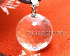 Big 16mm Round White faceted Natural Transparent Crystal pendant necklace-ne5945