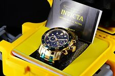 Mens Invicta Pro Diver Scuba Gold IP SS Black Dial Green Bezel Chrono 48mm Watch