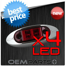 4X BRAND NEW TRUCK TRAILER BOAT RED LED LIGHT CHROME BEZEL 9v 12v 16v VOLT