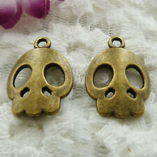 Free Ship 150 pieces bronze plated skull charms 21x15mm #146