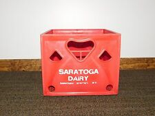 VINTAGE  OLD RED SARATOGA SPRINGS NY DAIRY PLASTIC MILK BOTTLE CASE BOX CRATE