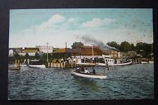 Launches & Steamer CAYUGA City Dock Whitehall, White Lake MI postcard 1910 AS IS