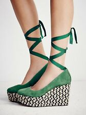 FREE PEOPLE SHOES CHARADE ESPADRILLE PLATFORM WEDGE PUMP GREEN SUEDE 38 NEW