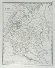OLD ANTIQUE MAP RUSSIA IN EUROPE c1840's by GELLATLY / CHAMBERS HAND COLOUR