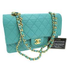 Auth CHANEL Double Flap Quilted Chain Shoulder Bag Emerald Green VTG V07944