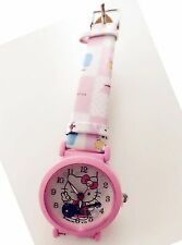 Girl Kid Children Pink Hello Kitty Cute Syn Leather Wrist Watch Christmas Gift