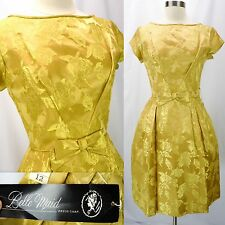 NOS Vtg 50s Deadstock Gold Satin Floral Embossed Cocktail Party Dress S - NEW!