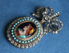 Fine Antique French Limoges Enamel Lady Portrait Silver Bow Knot Fob Brooch Pin
