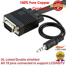 Premium VGA Monitor extended Cable w/ Audio M / M, 25FT / 7.6M ,100% Pure Copper