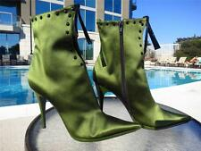 CASADEI green satin and crystal boots sz 8  Italian glam!!