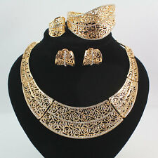 Fashion 18K Gold Plated Crystal Africa Dubai Wedding Party Necklace Jewelry Set