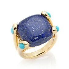 RARITIES CAROL BRODIE BLUE LAPIS WITH TURQUOISE ACCENTS VERMEIL RING SIZE 7 HSN