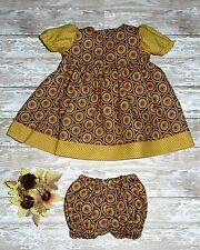 """Handmade Clothes For 14"""" - 16"""" Baby Doll - """"Circles of Friends"""" Gold Dress Set"""