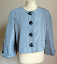 PRADA Soft Blue Silk Jacket Cropped Swing Wedding Occasion 38 S 6-8