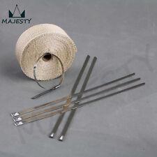 10M 30FT EXHAUST HEADER TURBO MANIFOLD DOWN PIPE HEAT WRAP + STEEL ZIP TIES CW