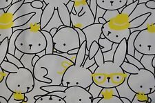 Printed Stretch Jersey Knit Sweatshirt Fabric Bunnies on White -  HalfMetre