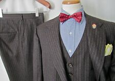 Vtg Wool Flannel 3pc Suit 42 44 R jacket pants vest Waistcoat WEDDING tweed MINT
