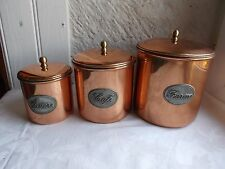 French set of 3 copper containers and lids decorative - collection