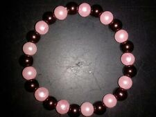 BRACELET - DARK BROWN & PINK BEADS - (41)