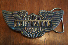 Vintage Harley Davidson Montauk Silver Company Brass Belt Buckle Shield Wings